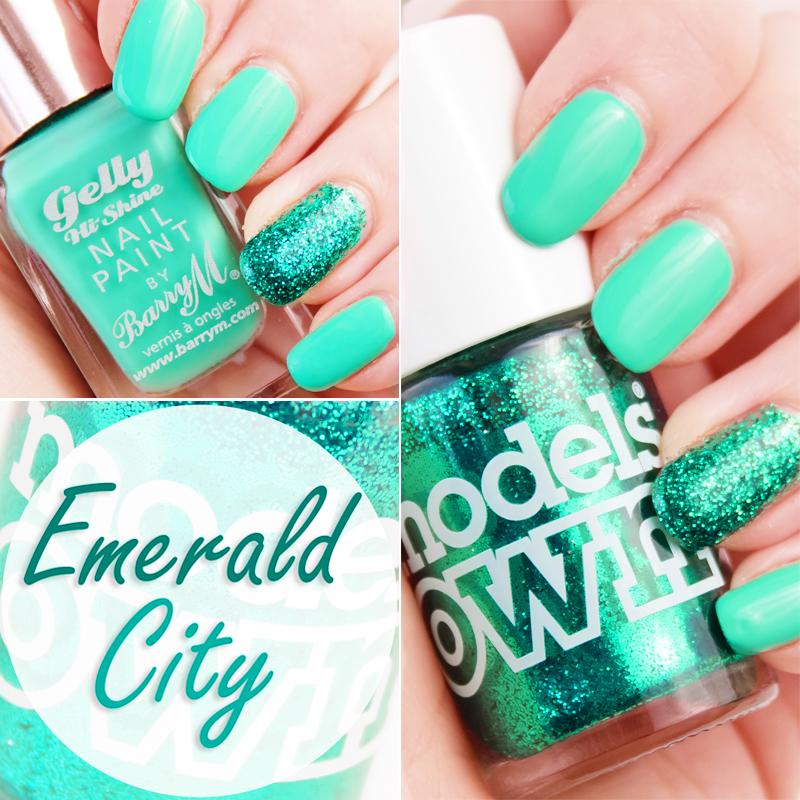 Manucure avec Green Berry et Emerald City nail art accent nail