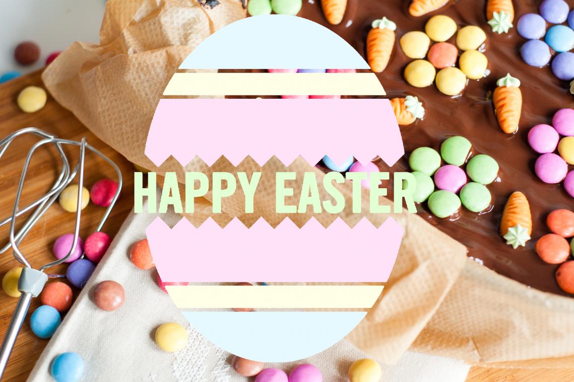 Mood Board de Pâques avec différentes inspirations de nail art, de décoration et de recette