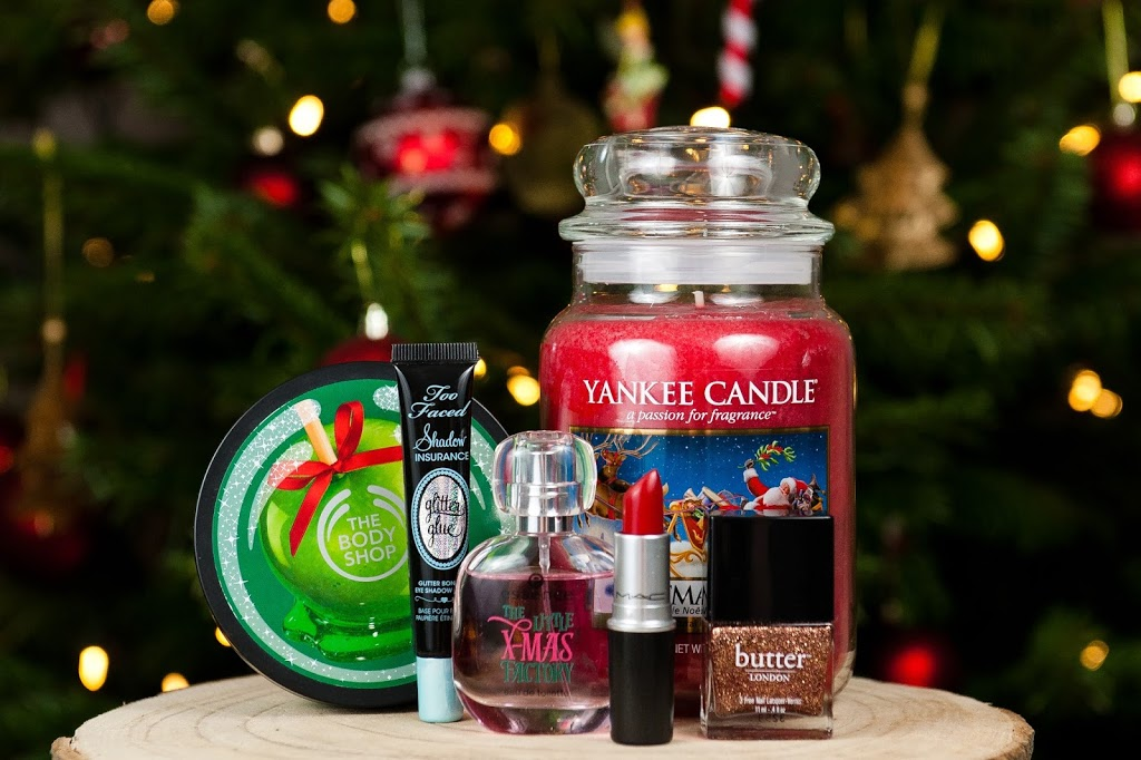 mes produits favoris pour les fêtes de fin d'année maquillage beauté yankee candles the body shop mac essence too faced butter london