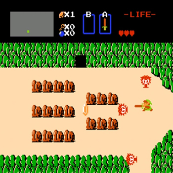 Nintendo NES jeu video game retro retrogaming console the legend of zelda link ingame screen